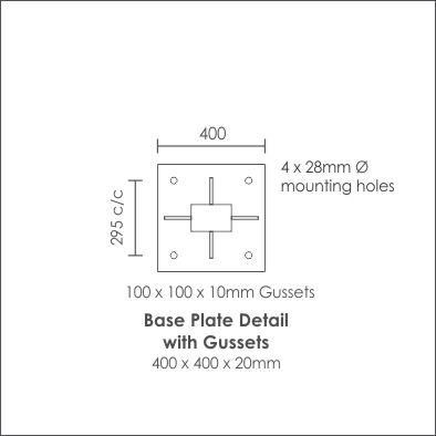 Galvanised Steel Pole150 x100 base plate