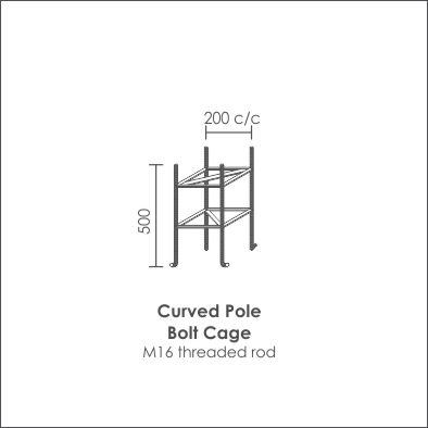 Galvanised Steel curved single bolt cage