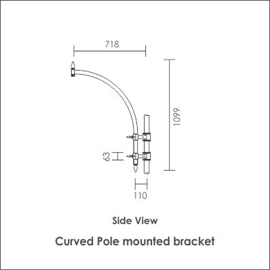 Curved pole mounted bracket