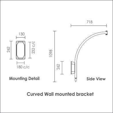 Curved wall mounted bracket