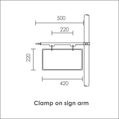 Clamp on sign arm