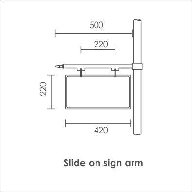 Slide on sign arm