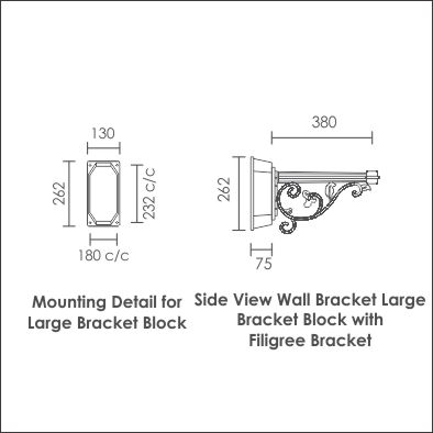 Wall Bracket Large Bracket Block with Filigree Bracket